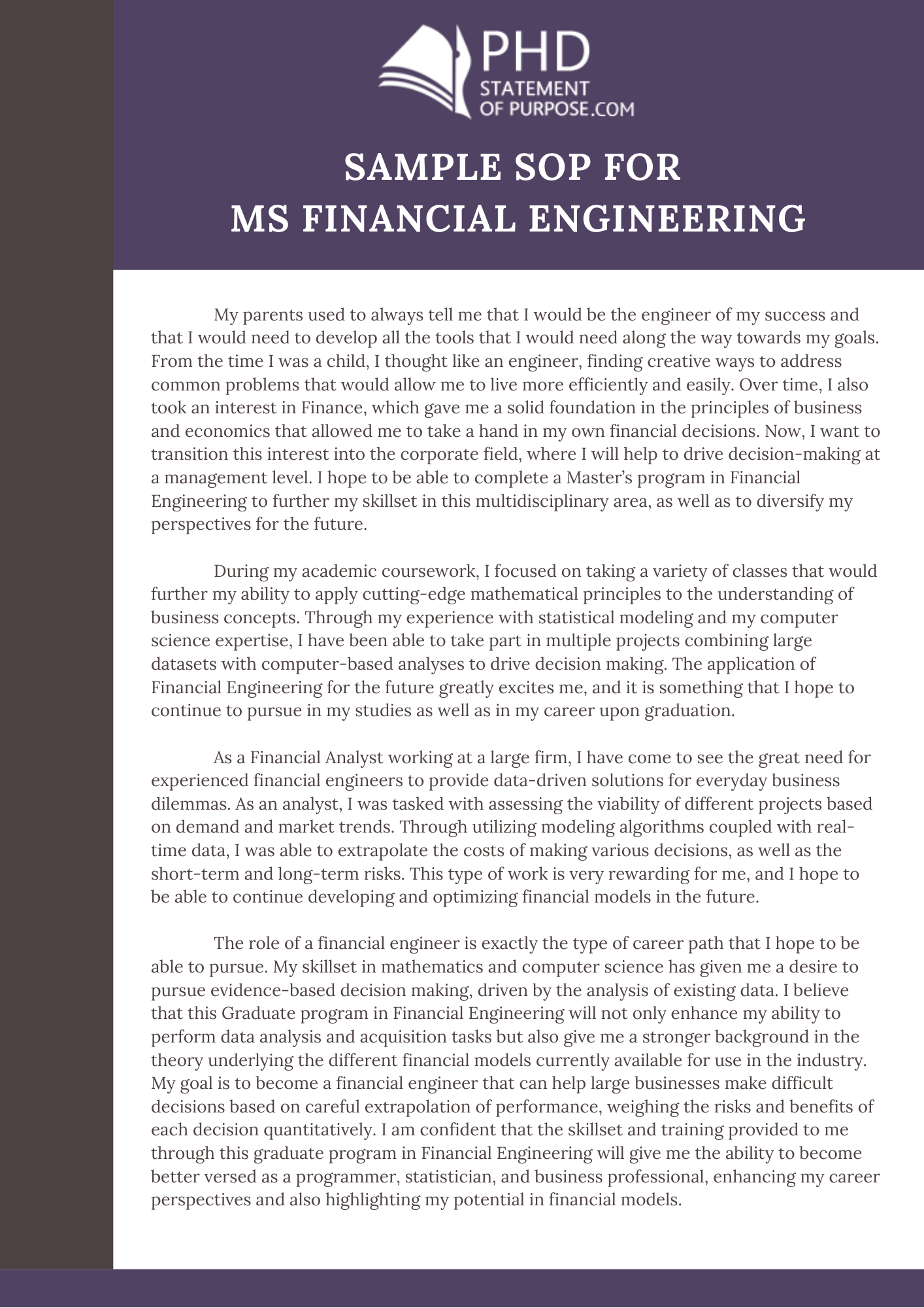 sample-sop-for-ms-financial-engineering Sample Finance Application Letter on high school, for transfer, college scholarship, for housekeeping, teaching position, for school board, any position,