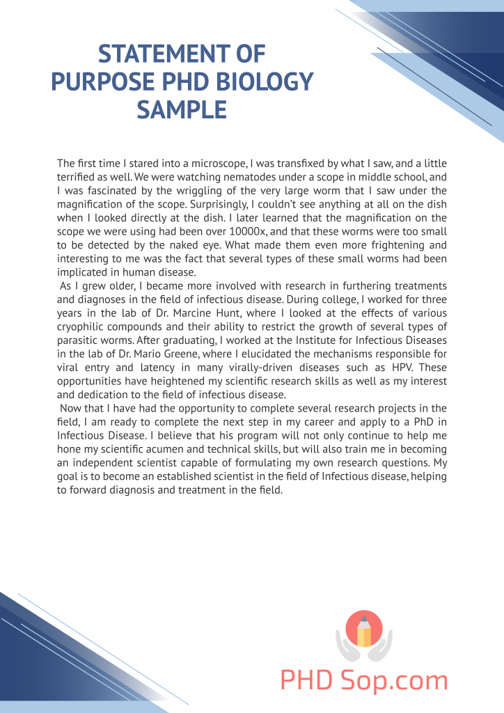 statement of purpose phd biology sample