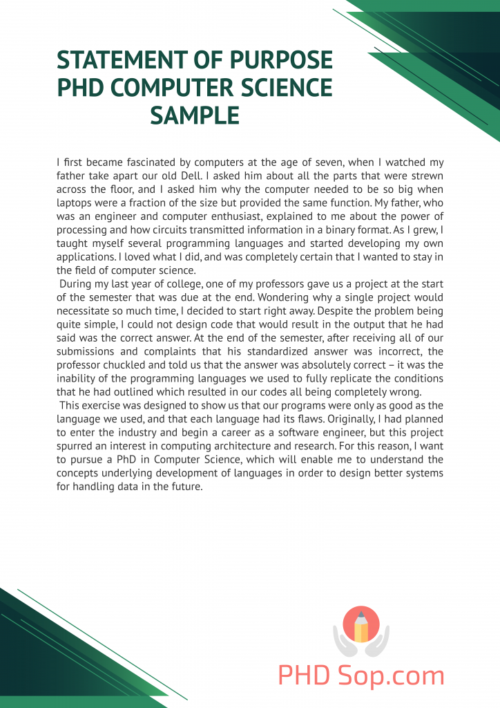 statement of purpose phd computer science sample