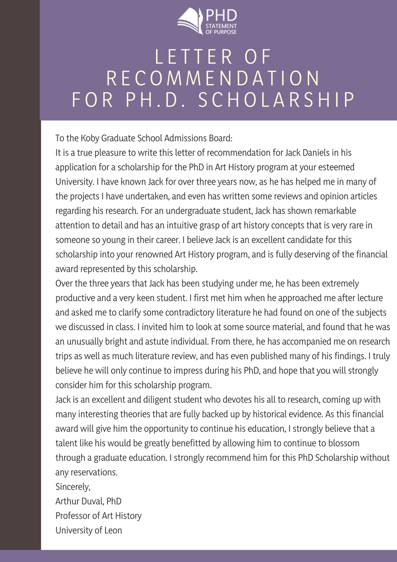 sample of recommendation letter for phd scholarship