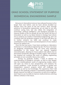 sample grad school statement of purpose biomedical engineering