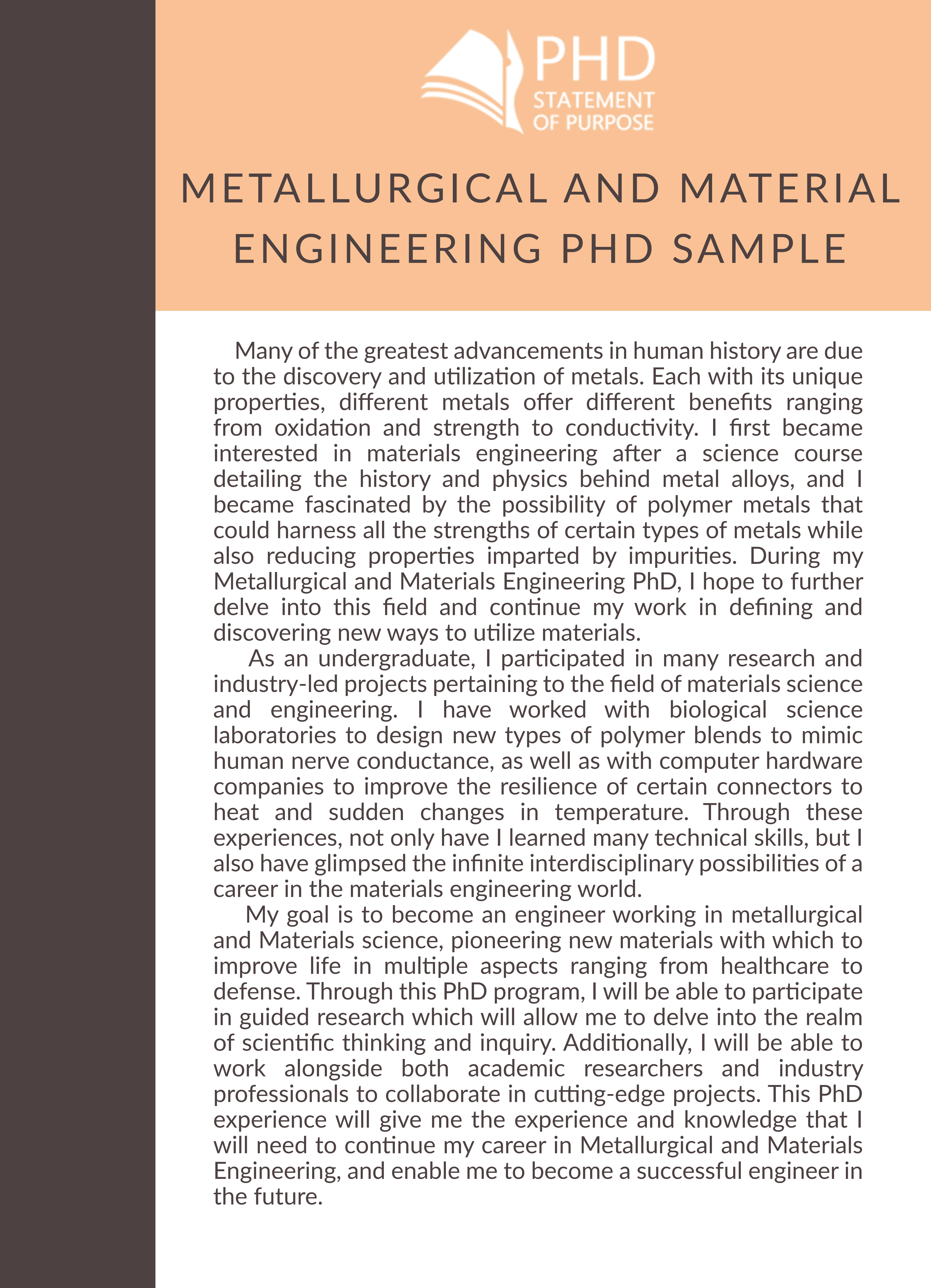 Statement of Purpose Engineering Graduate School & PhD Help
